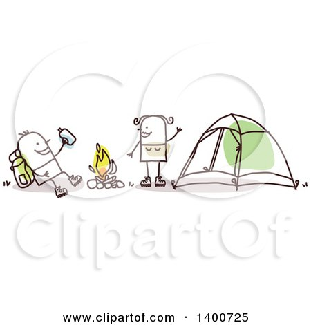Clipart of a Hiker Stick Couple Camping Around a Fire - Royalty Free Vector Illustration by NL shop