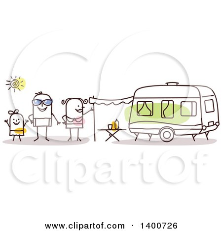 Clipart of a Camping Stick Family by a Caravan - Royalty Free Vector Illustration by NL shop