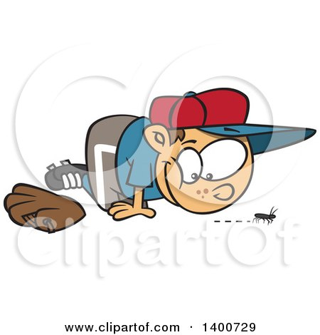 Clipart Of A Cartoon Distracted Caucasian Boy Watching A Bug Instead Of Playing Baseball Royalty Free Vector Illustration
