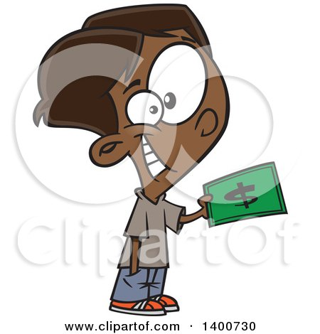 Clipart of a Cartoon Happy Black Boy Purchasing Something with Cash Money - Royalty Free Vector Illustration by toonaday