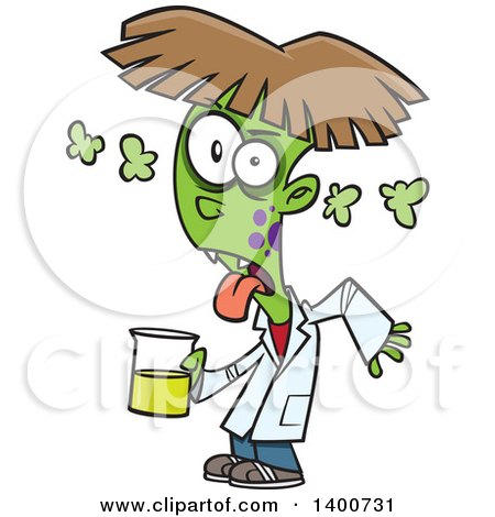 Clipart of a Cartoon Boy Turning into a Monster After Driking a Chemical from the Science Lab - Royalty Free Vector Illustration by toonaday