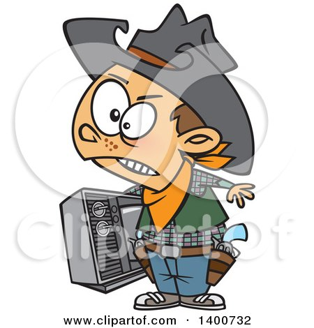 Clipart Of A Cartoon Young Cowboy Carrying A Tv Royalty Free Vector Illustration