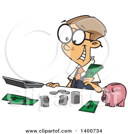 Cartoon Young Caucasian Accountant Boy Counting Money by a Piggy Bank Posters, Art Prints