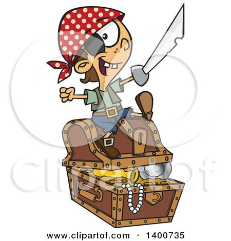 Clipart Of A Cartoon Pirate Boy Holding A Sword And Sitting On A Treasure Chest Royalty Free Vector Illustration