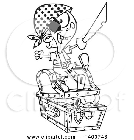 Clipart of a Cartoon Black and White Pirate Boy Holding a Sword and Sitting on a Treasure Chest - Royalty Free Vector Illustration by toonaday
