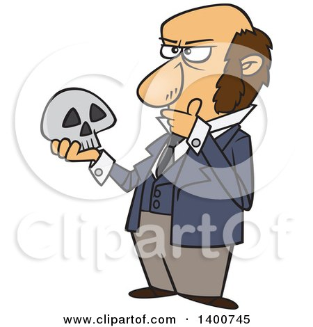 Clipart of a Cartoon Man, Charles Darwin, Holding a Skull and Thinking - Royalty Free Vector Illustration by toonaday