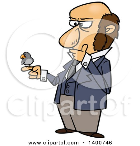 Clipart of a Cartoon Man, Charles Darwin, Holding a Bird and Thinking - Royalty Free Vector Illustration by toonaday