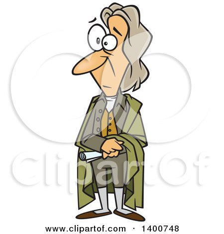 Clipart of a Cartoon Man, John Locke, Standing and Holding a Document - Royalty Free Vector Illustration by Ron Leishman