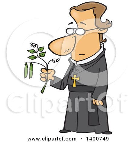 Clipart Of A Cartoon Friar Man Gregor Mendel Holding A Pea Plant Royalty Free Vector Illustration