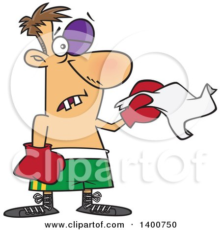 Clipart Of A Cartoon White Male Boxer With Missing Teeth And A Black Eye Throwing In The Towel Royalty Free Vector Illustration