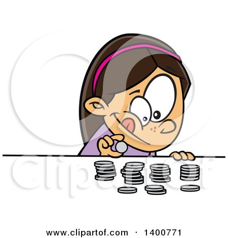 Clipart of a Cartoon Brunette White Girl Counting Her Money - Royalty Free Vector Illustration by toonaday