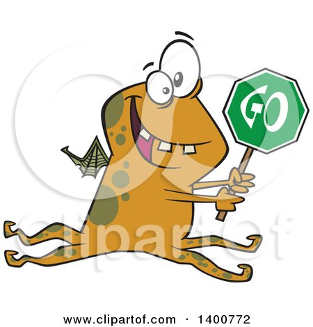 Clipart of a Cartoon Monster Holding a Go Sign - Royalty Free Vector Illustration by toonaday