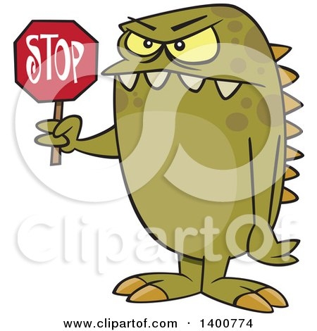 Clipart of a Cartoon Monster Holding a Stop Sign - Royalty Free Vector Illustration by toonaday