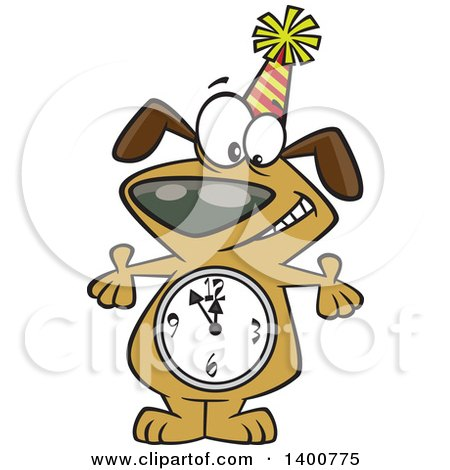 Clipart of a Cartoon Party Dog with a Count down Clock Body - Royalty Free Vector Illustration by toonaday