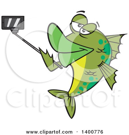 Clipart of a Cartoon Green Fish Taking a Portrait with a Selfie Stick - Royalty Free Vector Illustration by toonaday