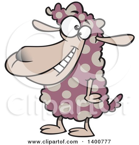Clipart of a Cartoon Sheep with Spotted Wool - Royalty Free Vector Illustration by toonaday