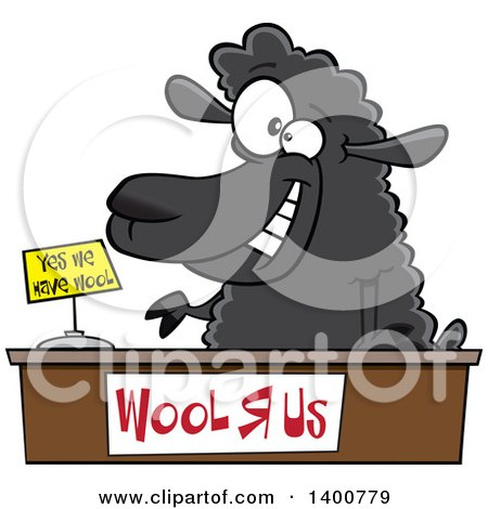 Clipart of a Cartoon Black Sheeppreneur Selling Wool - Royalty Free Vector Illustration by toonaday