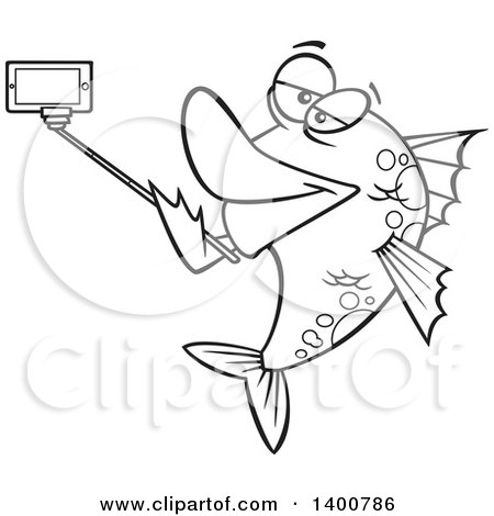 Clipart of a Cartoon Black and White Fish Taking a Portrait with a Selfie Stick - Royalty Free Vector Illustration by toonaday