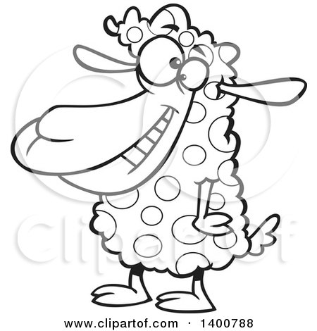 Clipart of a Cartoon Black and White Sheep with Spotted Wool - Royalty Free Vector Illustration by toonaday