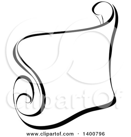 Clipart of a Black and White Calligraphic Ribbon Banner Design ...