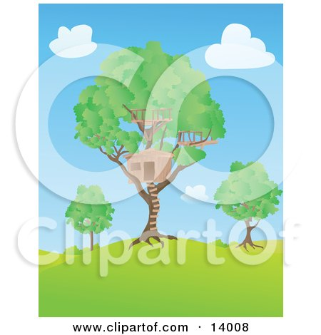 Big Tree House In A Lush Tree On A Hill Under A Blue Sky With Puffy White Clouds Clipart Illustration by Rasmussen Images