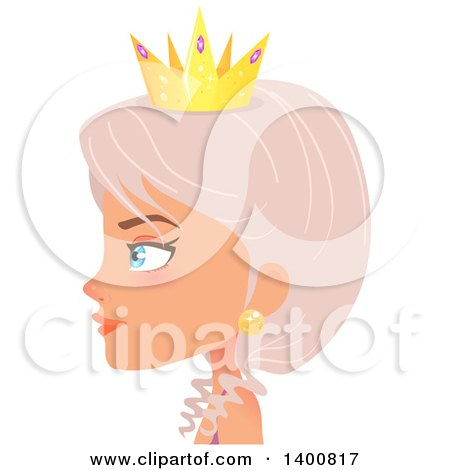 Blue Eyed Fairy Woman Wearing a Crown in Profile Posters, Art Prints