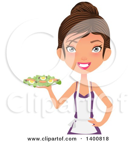 Clipart of a Happy White Female Chef Wearing an Apron and Serving a Salad - Royalty Free Vector Illustration by Melisende Vector