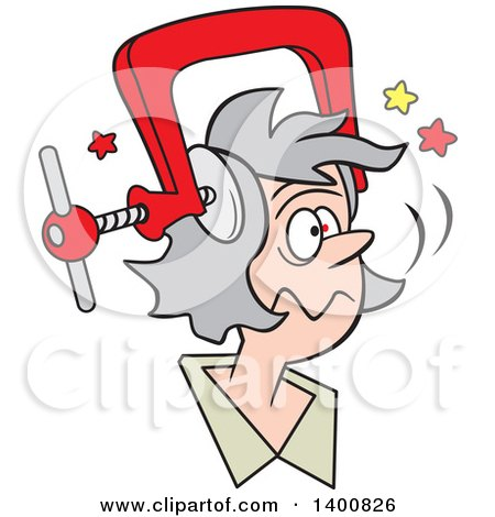 Cartoon Senior White Woman With A Bad Migraine Headache Depicted As Clamp On Her Head Posters Art Prints By Interior Wall Decor 1400826