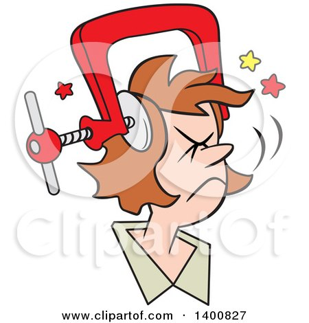 Clipart of a Cartoon Brunette White Woman with a Bad Migraine Headache Depicted As Clamp on Her Head - Royalty Free Vector Illustration by Johnny Sajem