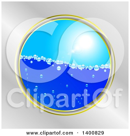 Clipart of a Frame of Bubbly Water Under a Sunny Sky - Royalty Free Vector Illustration by elaineitalia