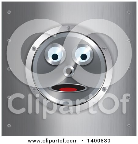 Clipart of a Surprised Robot Face in a Frame over Brushed Metal - Royalty Free Vector Illustration by elaineitalia