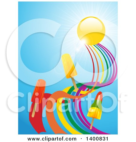 Clipart of 3d Ice Pops Floating on a Twisted Rainbow Under a Sun and Sky - Royalty Free Vector Illustration by elaineitalia