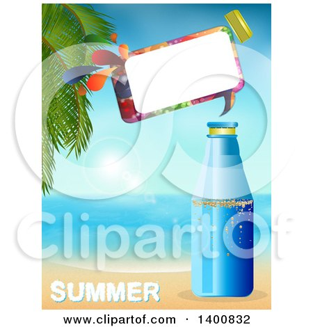 Clipart of a Plastic Water Bottle with a Speech Bubble on a Tropical Beach over Summer Text - Royalty Free Vector Illustration by elaineitalia