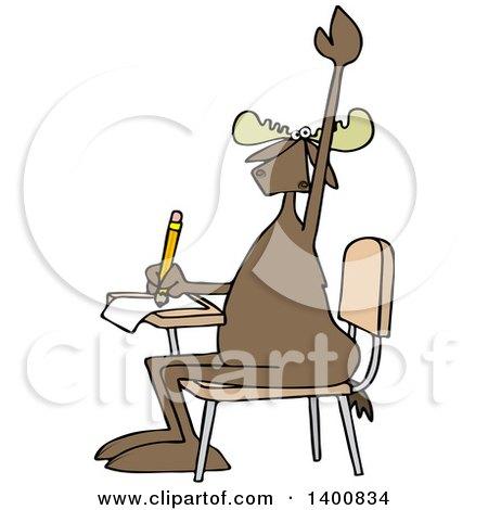 Clipart of a Cartoon Moose Student Raising His Hand at a School Desk - Royalty Free Vector Illustration by djart