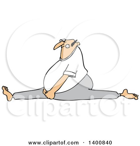 Clipart of a Cartoon White Man Doing the Splits, with a Painful Expression - Royalty Free Vector Illustration by djart