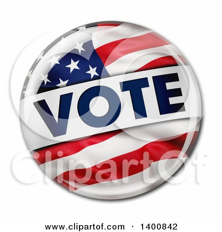 Clipart of a 3d American Flag Political VOTE Button Pins, on a White Background - Royalty Free Vector Illustration by stockillustrations