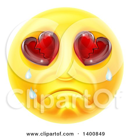 Clipart of a Crying Yellow Smiley Face Emoji Emoticon with Broken Heart Eyes - Royalty Free Vector Illustration by AtStockIllustration
