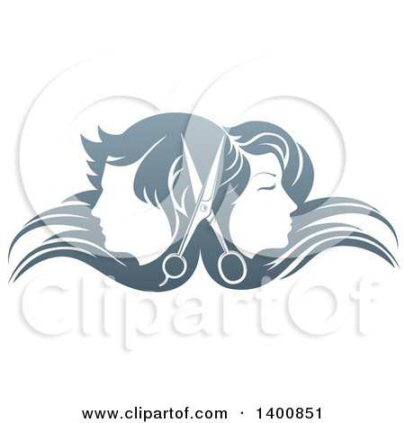 Clipart of a Pair of Scissors Between Male and Female Faces Back to Back, in Profile, with Long Hair Waving in the Wind - Royalty Free Vector Illustration by AtStockIllustration