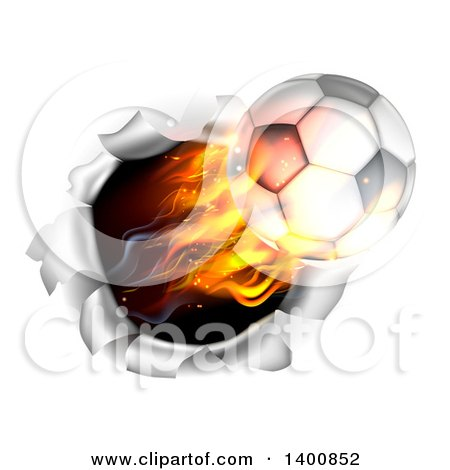 Clipart of a 3d Flying Flaming Soccer Ball Breaking Through a Wall - Royalty Free Vector Illustration by AtStockIllustration