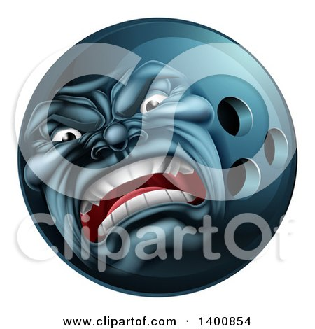 Clipart of a 3d Furious Bowling Ball Mascot Character - Royalty Free Vector Illustration by AtStockIllustration
