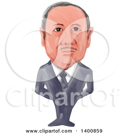 Clipart of a Watercolor Caricature of the 14th President of Turkey, Recep Tayyip Erdogan - Royalty Free Vector Illustration by patrimonio