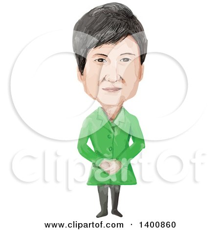 Clipart of a Watercolor Caricature of the 11th President of the Republic of Korea, Park Geun-hye - Royalty Free Vector Illustration by patrimonio