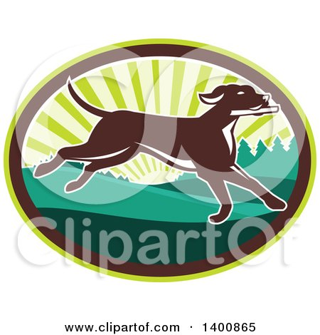 Clipart of a Retro Brown Pointer Dog Running in a Sunrise Oval - Royalty Free Vector Illustration by patrimonio