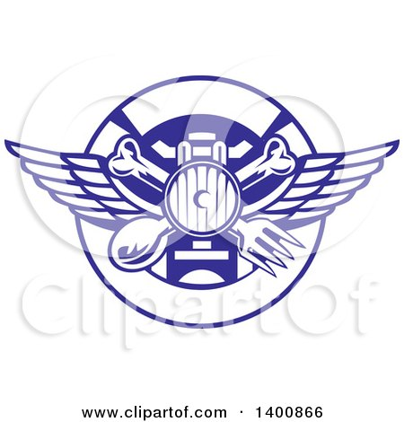 Clipart of a Retro Crossed Spoon, Fork and Bone with Wings over a Headlamp in a Blue and White Plate Circle - Royalty Free Vector Illustration by patrimonio
