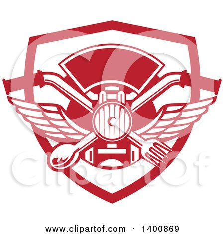 Clipart of a Retro Crossed Spoon and Fork over Motorcycle Handlebars and Headlamp in a Red and White Shield - Royalty Free Vector Illustration by patrimonio