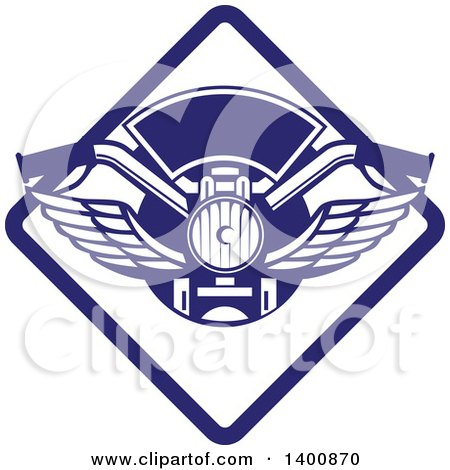 Clipart of Retro Motorcycle Handlebars with Wings in a Blue and White Diamond - Royalty Free Vector Illustration by patrimonio