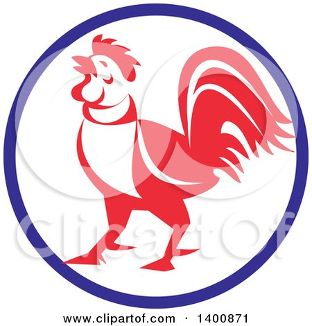 Clipart of a Retro Crowing Rooster in a Blue White and Red Circle - Royalty Free Vector Illustration by patrimonio