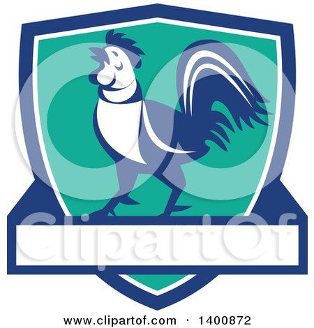 Clipart of a Retro Crowing Rooster in a Blue White and Turquoise Shield - Royalty Free Vector Illustration by patrimonio