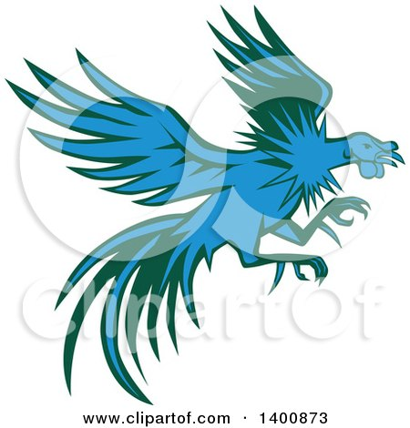 Clipart of a Retro Blue and Green Flying and Fighting Rooster - Royalty Free Vector Illustration by patrimonio