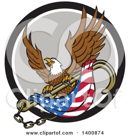 Clipart of a Retro Bald Eagle Flying with an American Flag and Towing J Hook in a Black White and Gray Circle - Royalty Free Vector Illustration by patrimonio